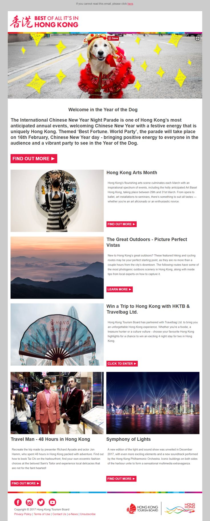 Chinese New Year Newsletter from the Hong Kong Tourism Board #EmailMarketing #Email #Marketing #ChineseNewYear #Chinese #NewYear #Lunar