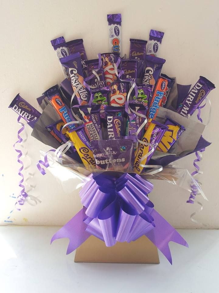 Cadbury's Chocolate Bouquet, is absolutely stuffed with a wide range of Cadbury's chocolates products. The Bouquet comes dressed and decorated in a colour of your choice. £19.99.