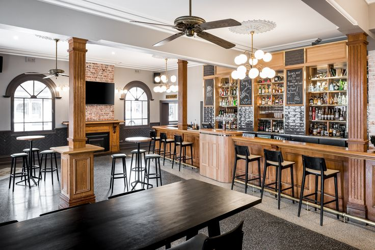 Hospitality Design by Benson Studio. Front bar design with heritage features at the Historic Rose Hotel in Western Australia.