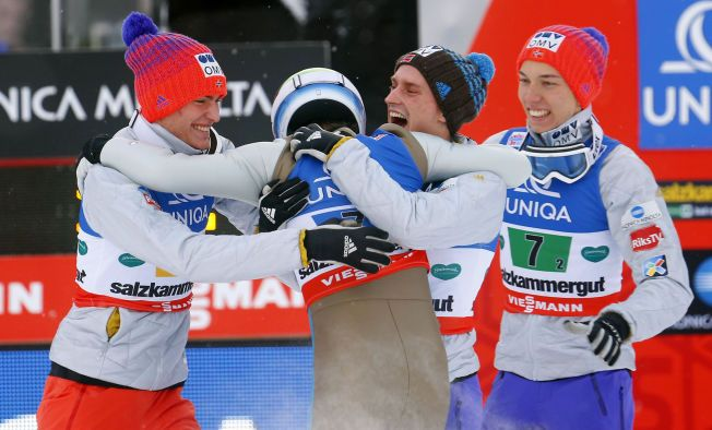 The Norwegian ski jumping team is celebrating winning gold in the flying hill world championship