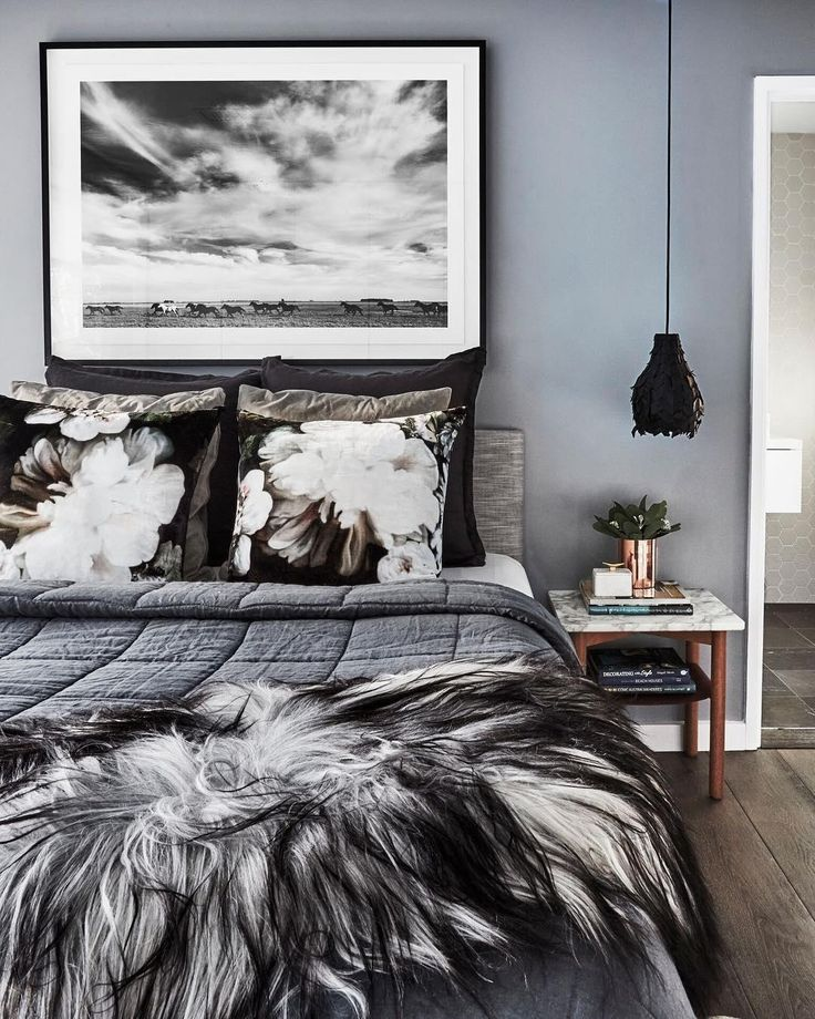 Ellie Cashman dark floral wallpaper Gray bedroom