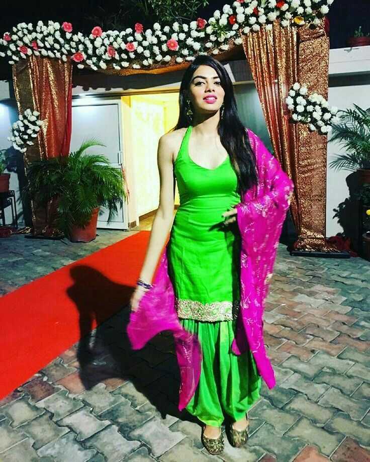 Pink and green Punjabi suit.