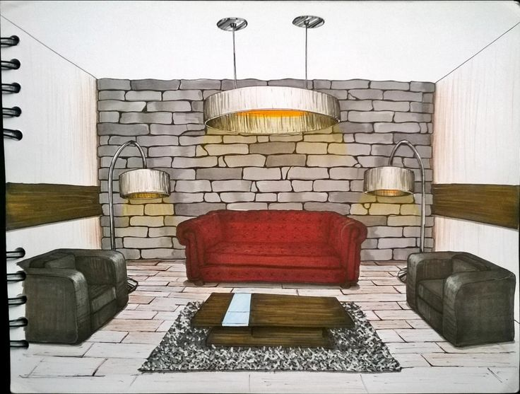 Sketch Interior design. Living room, sala.  Furniture.  Marcadores, markers, illustration, ilustración.