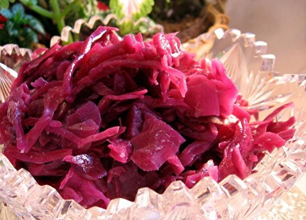 Red Cabbage, German from Food.com:I  1/2 German it is a must have .It is a treat form us. #ultimatethanksgiving   Delicious, colourful vegetable dish. Easy to prepare.