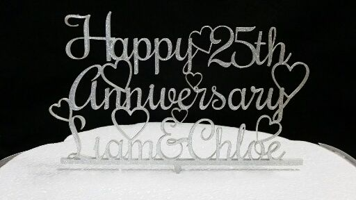Personalised Anniversary Acrylic Cake Topper