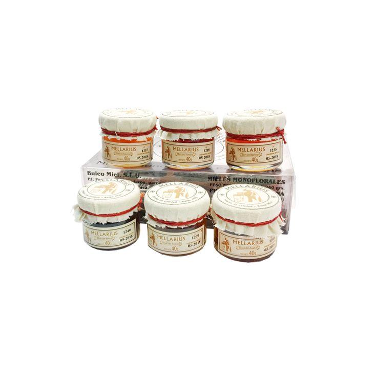 Monodosis de miel Mellarius, este estuche incluye 6 variedades: Miel de tomillo, de espliego, de azahar de romero, de eucalipto y de brezo.