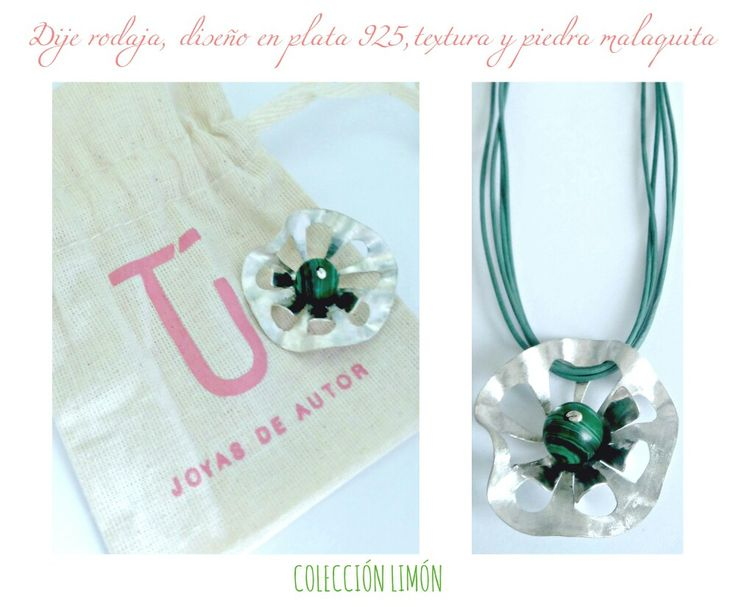 Colecciónlimón#dijerodaja#plata925#piedraMalaquita#texturas#diseño#color#TÚ joyas de autor.
