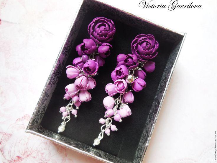 Купить Серьги Фиолетовые пионы - тёмно-фиолетовый, пионы, пионы из полимерной глины