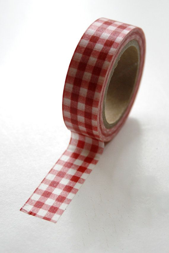 Washi Tape - 15mm - Red and White Gingham - Deco Paper Tape No. 78 $3.30