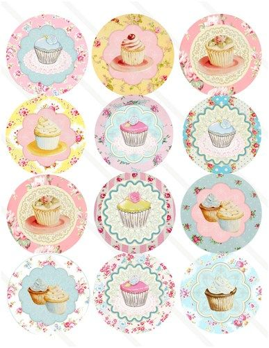 """VINTAGE TEA PARTY CUPCAKES Banner Stickers Favors Decorations 2.5""""Round, Digital File Birthday Shower."""