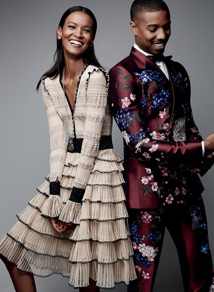 """<strong>Michael B. Jordan<span style=""""line-height: 1.5;"""">and </span>L</strong><b style=""""line-height: 1.5;"""">iya Kebede</b><strong style=""""line-height: 1.5;"""">in Dolce&Gabbana Alta Sartoria for Vogue US</strong>"""