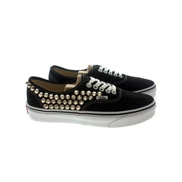 Studded Vans, Silver cone studs with Black vans / One side Studded by CUSTOMDUO on ETSY