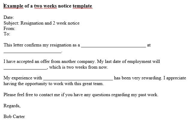 Two Week Notice Email Template Email Templates Templates Letter Templates