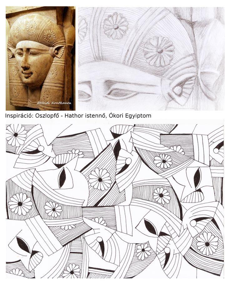 Orbán Andrea, mintatervezés. Inspiráció: ókori egyiptomi oszlopfő. / Orbán Andrea, pattern design. Inspiration: ancient Egyptian column capital.