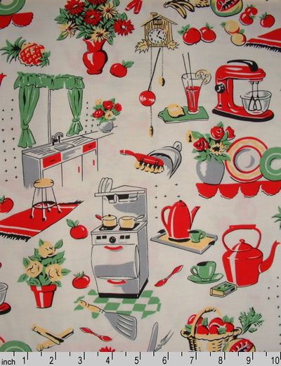 #vintage #fabric #Fifties Kitchen Retro Fabric