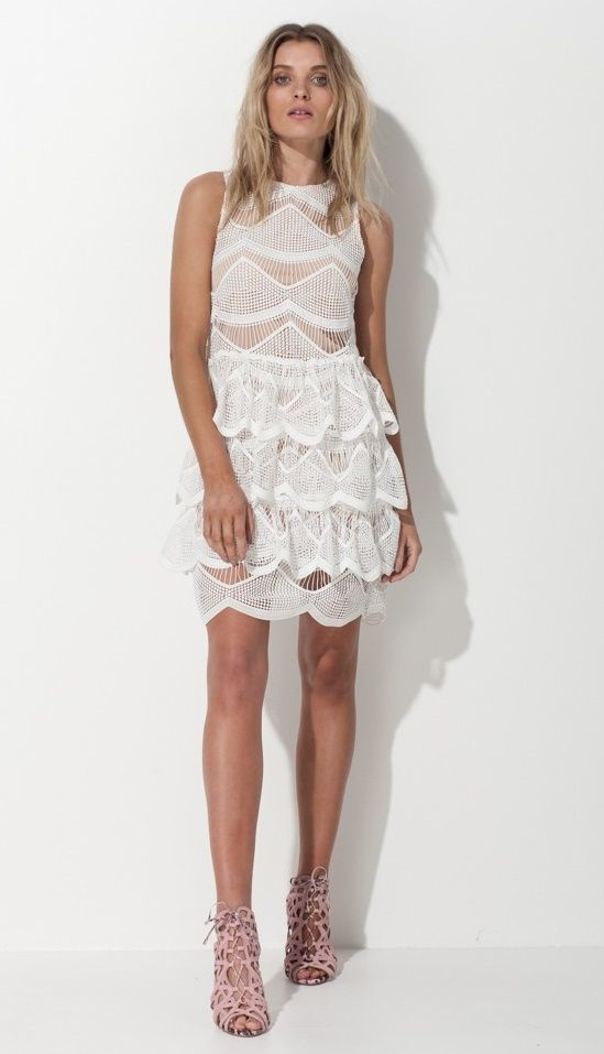 Mossman - Spanish Rennaisance White Lace Dress