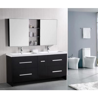 Design Element - Perfecta 72 Inches Vanity in Espresso with Acrylic Vanity Top in White and Mirror (Faucet not included) - DEC079B - Home Depot Canada