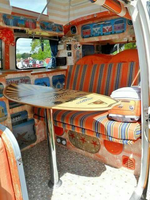 7 best veh culos y objetos retro images on pinterest vw for Kombi van interior designs
