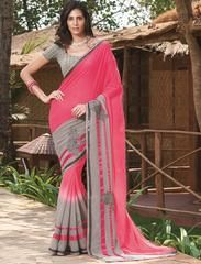 Pink & Grey Color Georgette Festival & Function Wear Sarees : Swarani Collection  YF-42806
