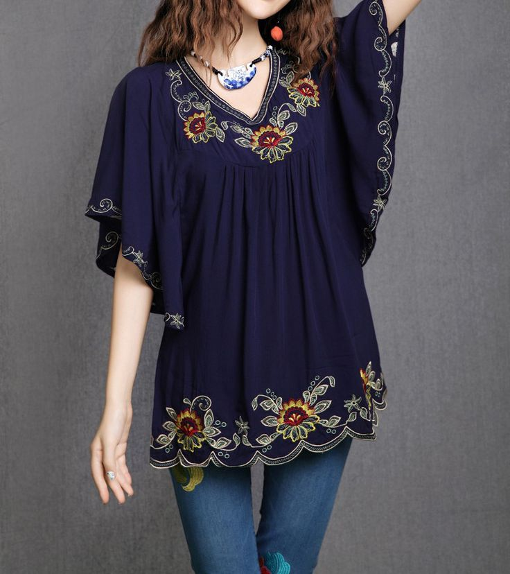 Ethnic Floral Embroidered Blouses Gender: Women Decoration: Embroidery Clothing Length: Regular Sleeve Style: Regular Pattern Type: Solid Style: Casual Fabric Type: Broadcloth Material: Cotton Collar: