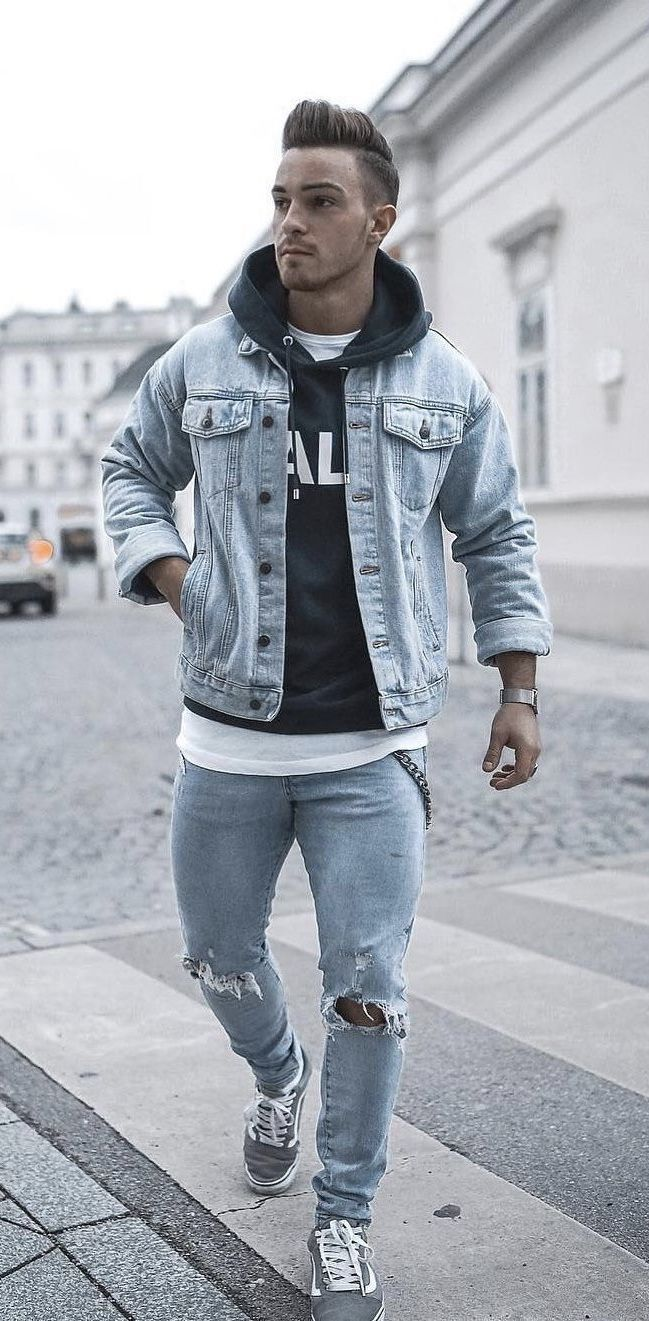 Fall outfit idea with a light wash denim jacket black hoody