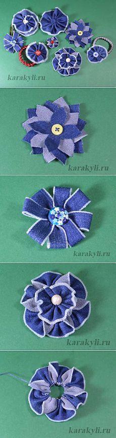 Цветы из джинсовой ткани своими руками | КАРАКУЛИ