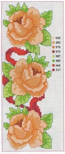 Resultado de imagen para flor de ponto cruz passo a passo
