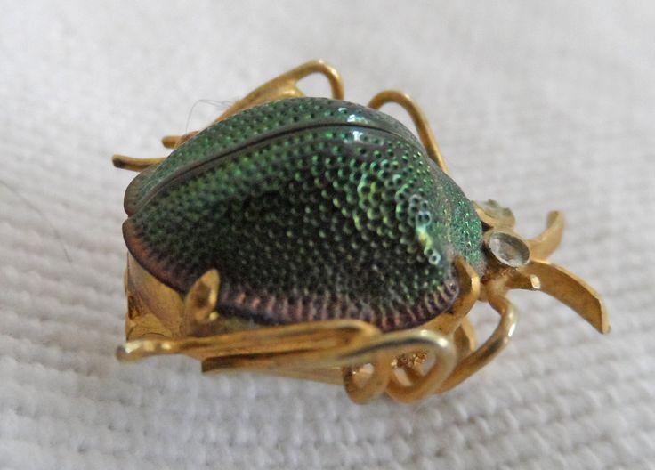 Edwardian Real Scarab beetle brooch by vintagebouquets on Etsy