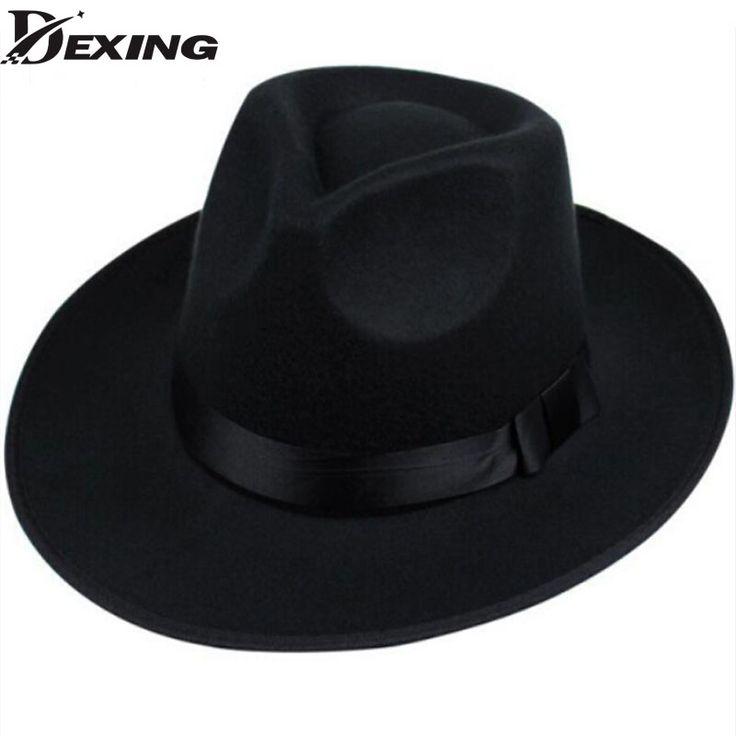[Dexing]Fashion superstar wide brim sombreros bowler hoeden men vintage black chapeu chapeau feutre woolen womens fedoras