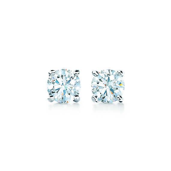 Tiffany solitaire diamond earrings in platinum. Someday, these will be mine.