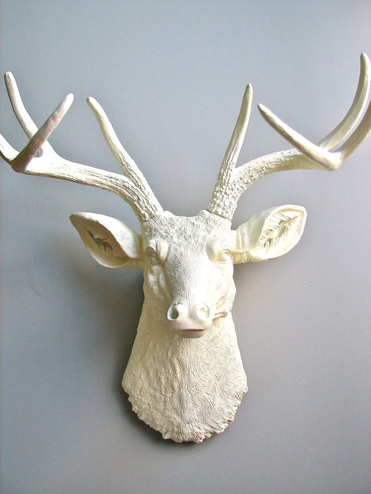 White Deer Head Faux Taxidermy Wall Mount Wall Hanging
