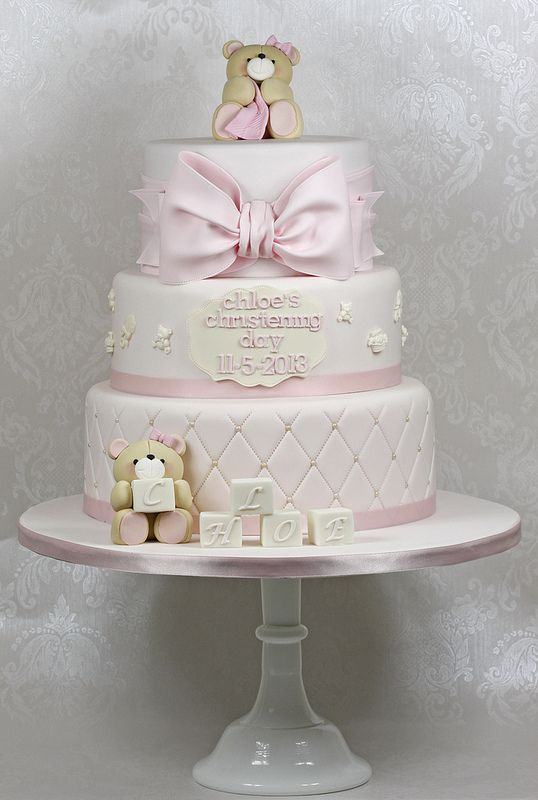Three tier christening cake in soft pink. Teddies modeled on the forever friends teddies