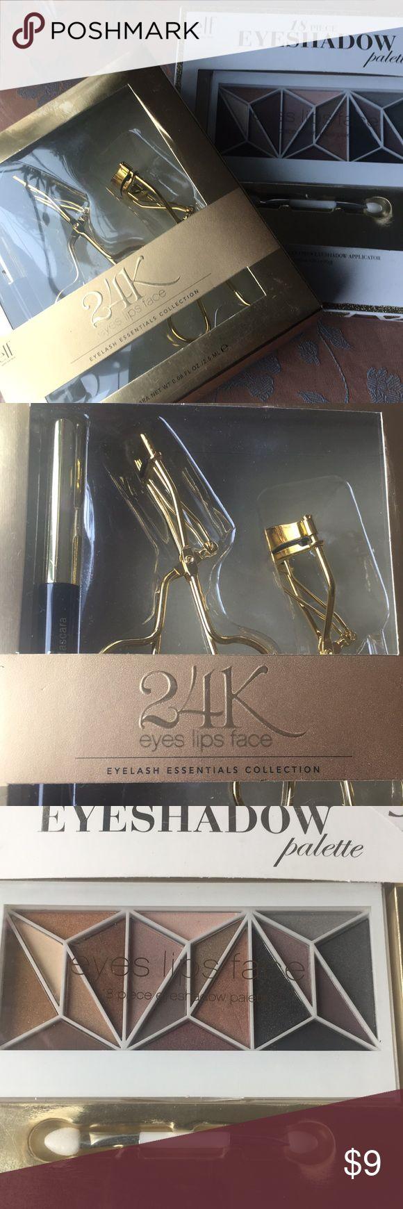 Elf eye bundle Elf 24k eyelash essentials kit with mascara , large lash curler and mini lash curler for individual lashes.  And 18 piece eyeshadow palette with applicator ELF Makeup