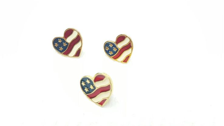 Avon Heart of America Patriotic Pierced Earrings and Lapel pin Mint Condition 1990 #avonjewellery #etsyseller