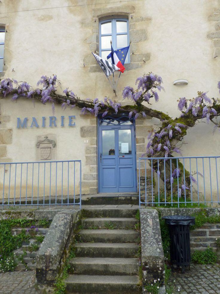 City hall entrance door in Rochefort en Terre, Brittany