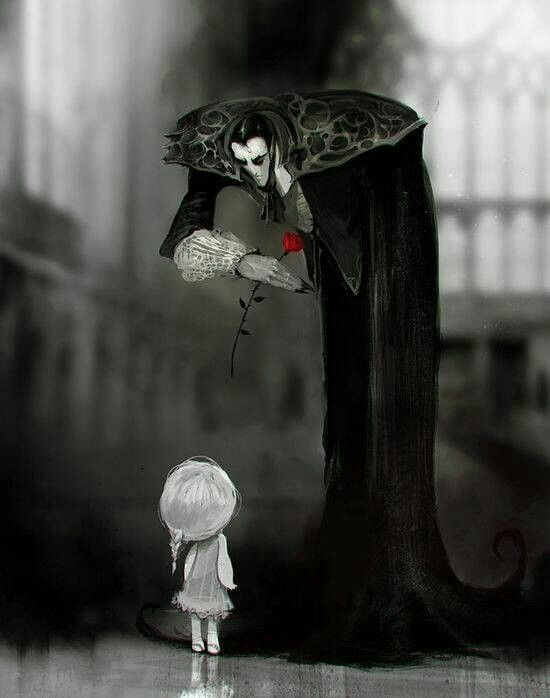Dark art. Amazing work and the fact that the only colour in the piece is the red rose makes it even more beautiful and significant