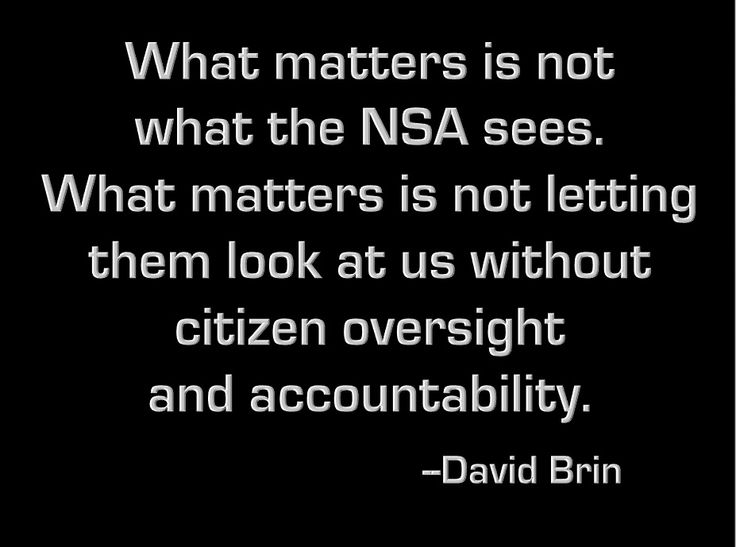 What matters is not what the NSA sees. What matters is not letting them look at us without citizen oversight and accountability.  -- David Brin