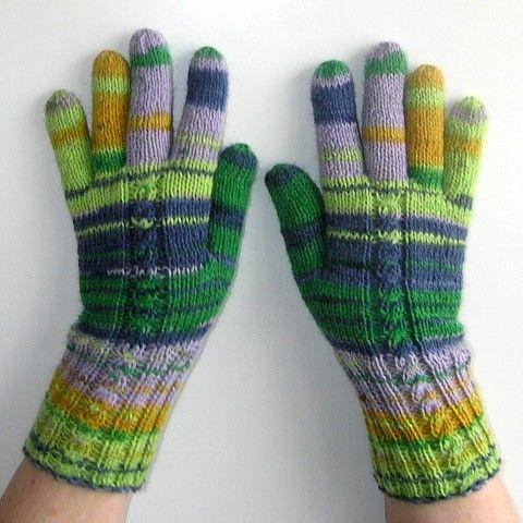 Rukavice - Jarní vody zelená zima modrá oranžová podzim pletené žlutá jaro lila vlna rukavice prstové ivka polyamid