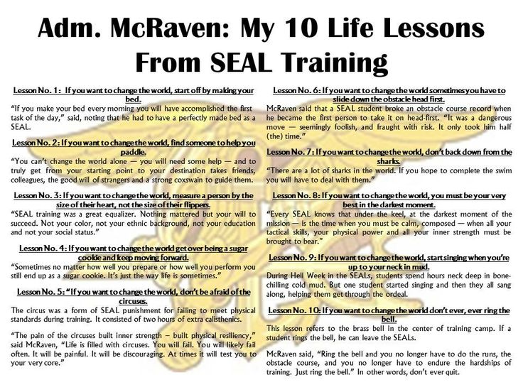 Adm. McRaven Urges Graduates to Find Courage to Change the World: My 10 Life Lessons From SEAL Training  Admiral William McRaven, whose 36-year career as a Navy SEAL has been shrouded in secrecy, recently made a rare appearance in public to deliver the commencement address at the University of Texas and revealed his 10 life lessons he learned from his basic SEAL training.   http://nation.foxnews.com/2014/05/27/adm-mcraven-urges-graduates-find-courage-change-world…