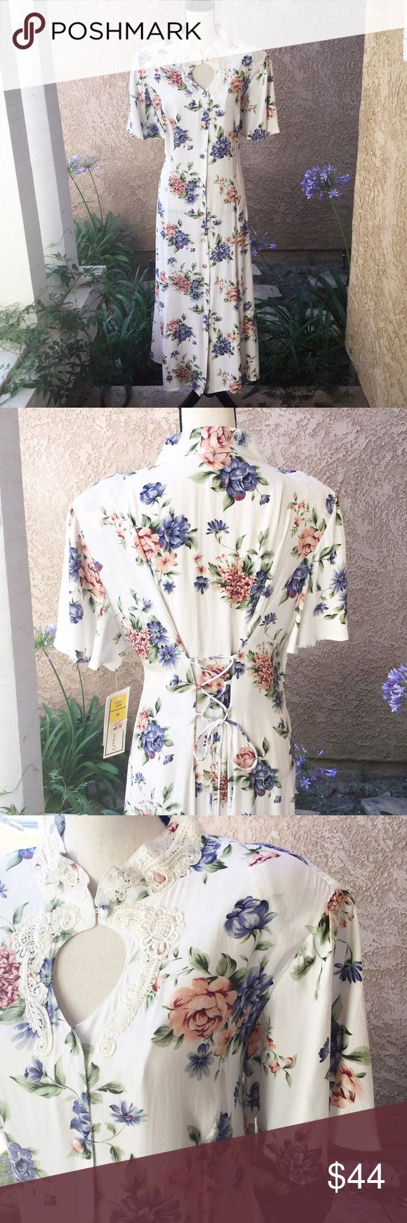 """Vintage 80's 90's floral maxi dress button down 20 Buttons down the front. Keyhole design at the top, another button and lace around the collar. The back adjusts with ties, corset design. Flutter, bell sleeves. Still includes the tags. I estimate this is from the late 80's to early 90's. DJI brand. Approx measurements laying flat are.....  ▪️Chest, straight across under the arms-21"""" ▪️Length-52"""" ▪️Waist-20""""  🍃🍃🍃🍃🍃🍃🍃🍃🍃🍃  ▪️ Fabric-100% rayon ▪️ Condition-Vintage, still has the new…"""