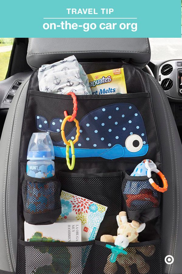 """Some trips in the car seem like they last an eternity. Keep Baby entertained with toys, books and more, plus stay organized with everything you need for diaper changes or cleaning sticky fingers. The 3 Sprouts Backseat Organizer has lots of clear pockets to perfectly keep everything in its place and easy to find. And, as your baby gets older, you can easily update the organizer with """"big kid"""" stuff."""