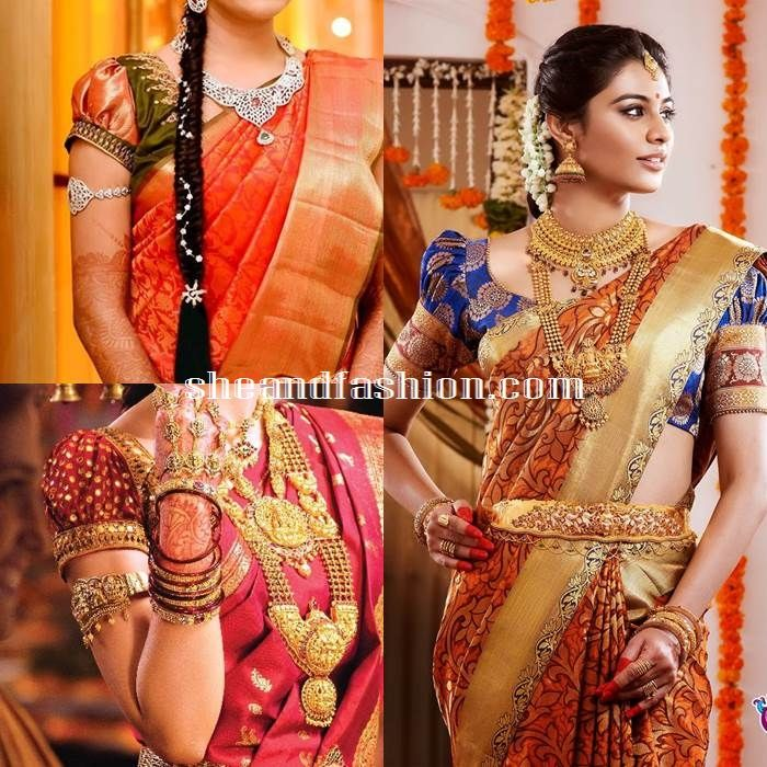 Silk Saree Blouse Design Puff Sleeve Blouse Designs