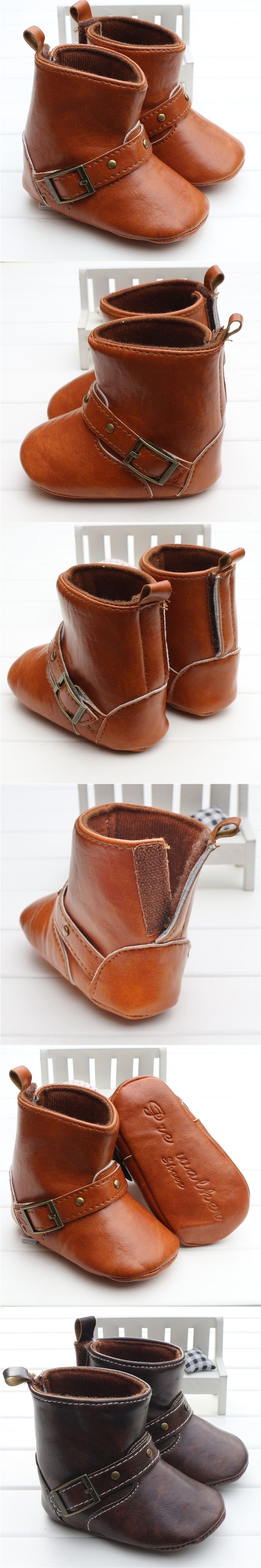 Brown Baby Classic Cowboy Boots PU Buckle Soft Soled Baby Girl Winter Boots Infant Toddler Winter Shoes First Walkers $10.55