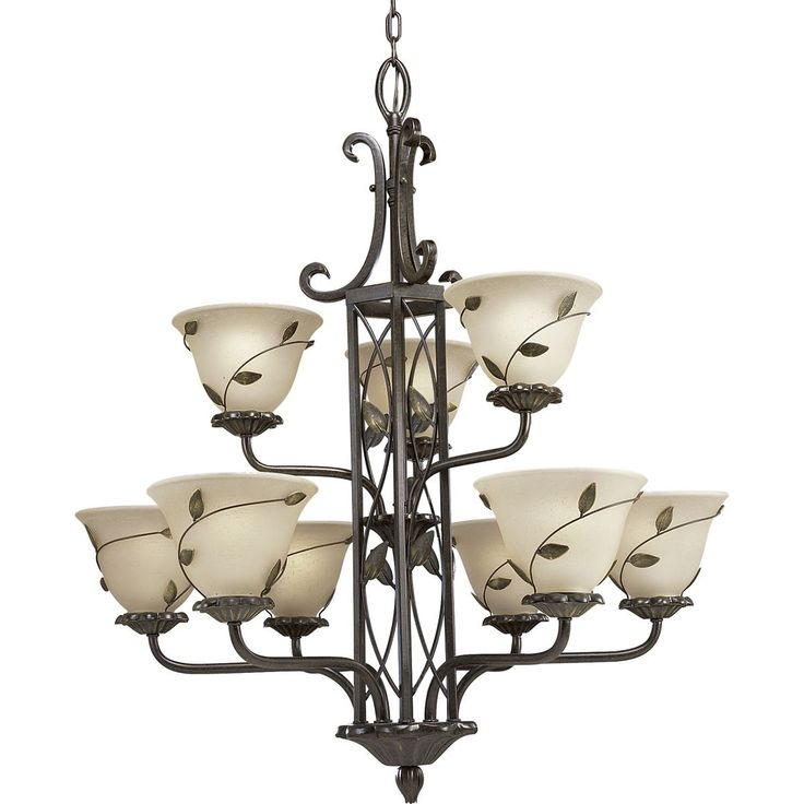 chandelier with amber linen glass forged bronze finish chandeliers
