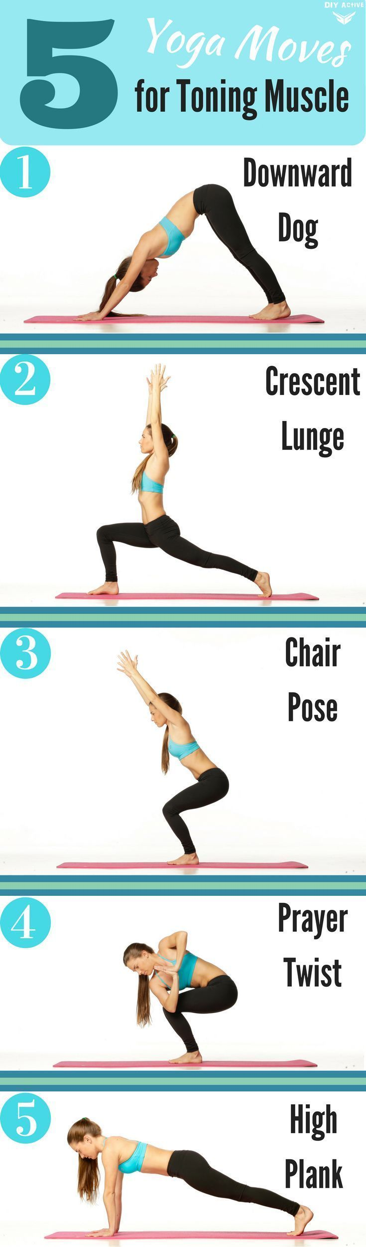 5 Yoga Moves for Toning Muscles via @DIYActiveHQ #workout #yoga #health