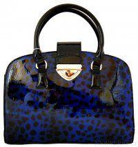 Exklusivní lesklá modrá kabelka do ruky fasco Berlin 2002-879