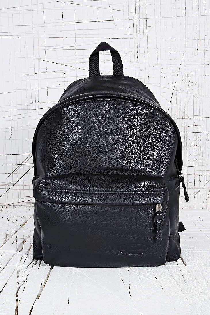 Eastpak Leather Padded Backpack in Black - Urban Outfitters