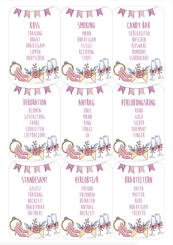 Partyspiel Fur Eure Bachelorette Party Ihr Erhaltet 72 Karten Mit Oberbegriffen Rund Um Das Thema Hochzeit Und Tabu Spiel Junggesellinnenabschied Bachelorette