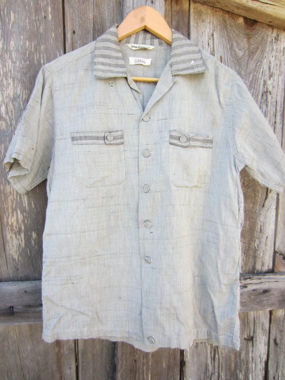 50s Distressed Rockabilly Shirt by Battelstein's of Houston, Men's M // Vintage Straight Bottom Short Sleeve Shirt