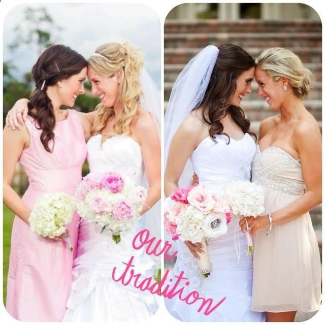 same pose in each others weddings. BEST FRIEND MUST!!! and possibly sister. Although I kinda classify as both.